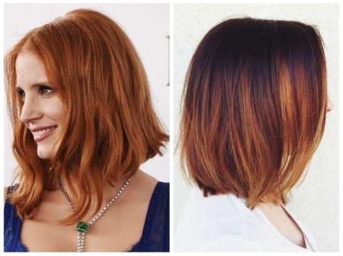 Каре с омбре рыжие волосы