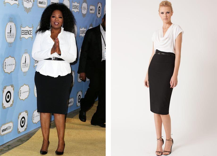 Белая рубашка, черная юбка
