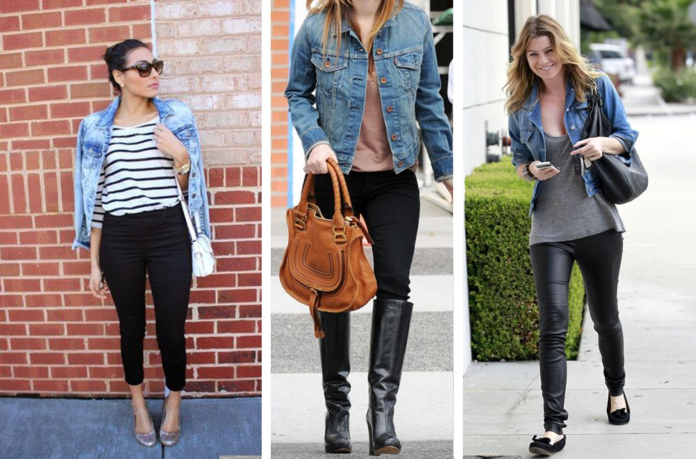 Черные брюки с джинсовой курткой