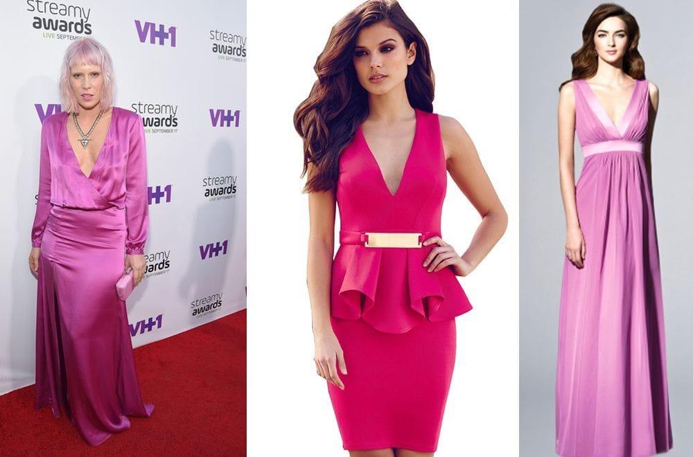 Розовое платье с вырезом «V»