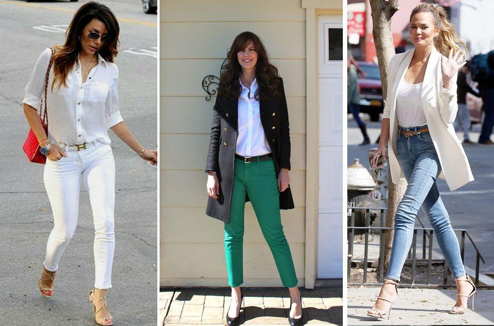 Тонкий ремень с джинсами