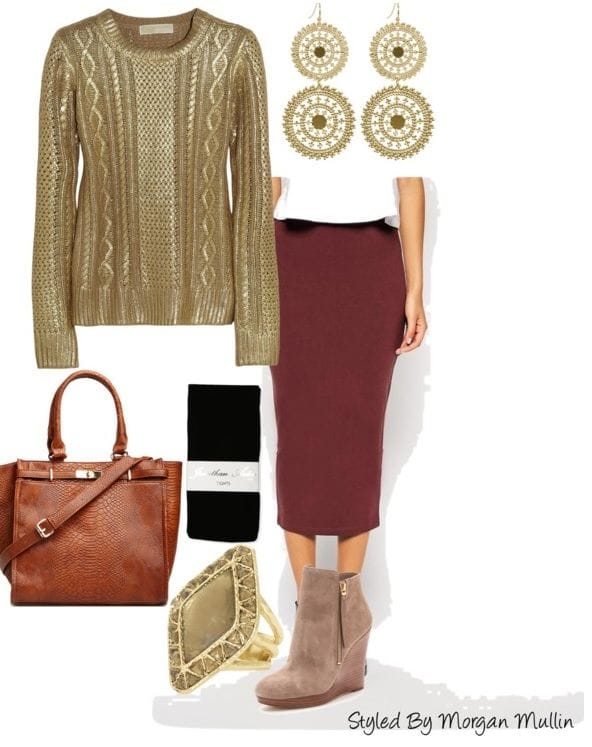 midi-skirt-and-metallic-sweater