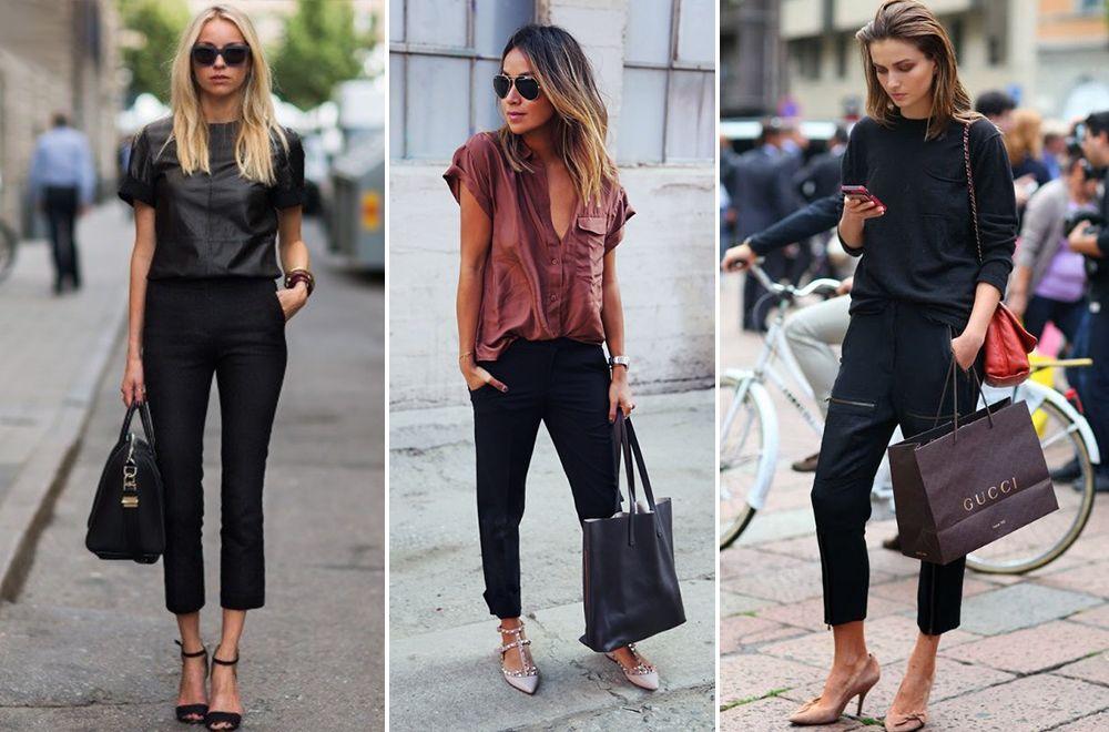 Черные брюки и черная блузка
