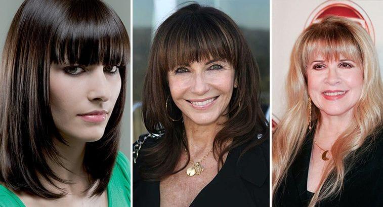 Прически на длинные волосы с челкой для женщин 40 лет фото