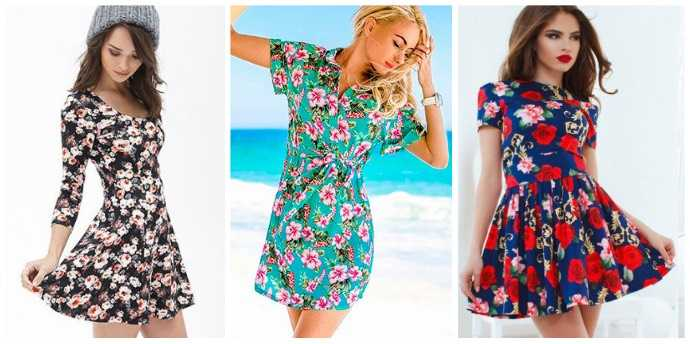 Модные короткие платья с цветочным принтом