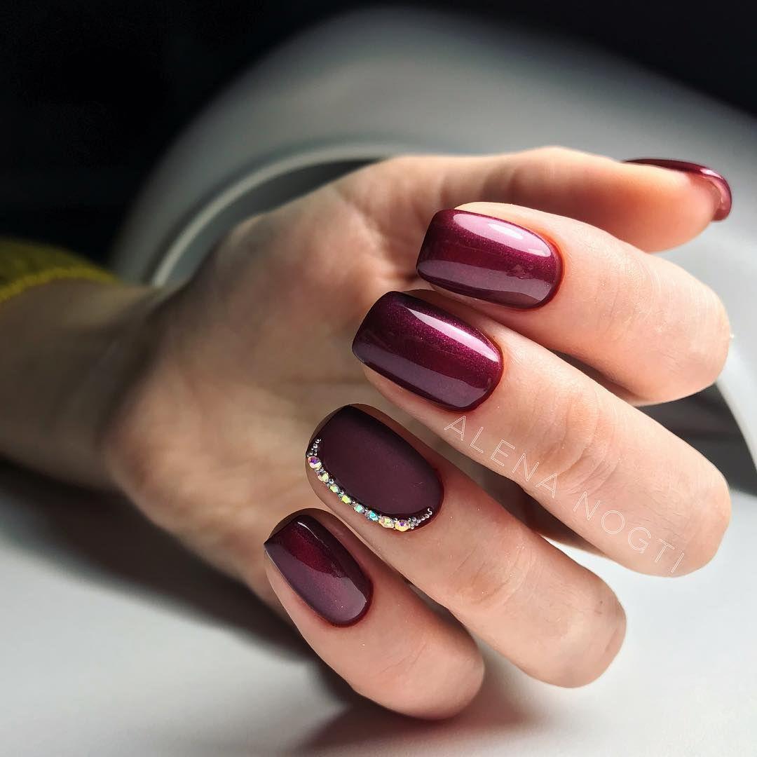 Дизайн ногтей винного цвета фото
